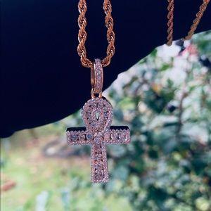 Other - 🔥 14K Gold Vermeil lab diamond Ankh necklace 🔥